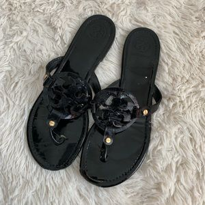 Tory Burch Miller Sandals Patent Black Leather